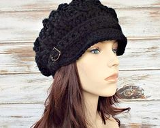 Crochet Hat Womens Hat Black Hat Black Newsboy Hat by pixiebell