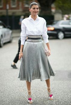 Giovanna Battaglia in Sophia Webster shoes. Silver, Adorned Wide Waist belt, and Accordion Pleats, LFW Spring 2017