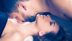 Sweet couple - A girl and a man, face to face, kissing themself.