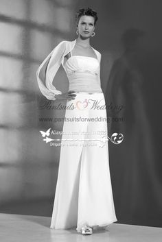 f8f7e170cad2 Two piece Chiffon bridal jumpsuit with jacket for beach wedding - Bridal  Apparel. new style dresses