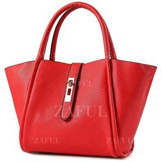 Hasp Embossing Pure Color Tote Bag ($99) ❤ liked on Polyvore featuring bags, handbags, tote bags, tote purse, red tote, red tote purse, handbags tote bags and red tote bag