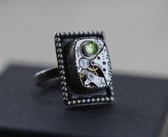 Peridot Ring Birthstone Ring August Birthstone Steampunk Ring Steampunk Rings, Peridot, Birthstones, Cufflinks, Unique Jewelry, Handmade Gifts, Accessories, Etsy, Vintage