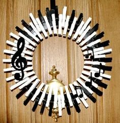 Music Wreath Piano Keys Wreath Musical Notes Treble Clef Crocheted Wreath Quarter Note Music Home Decor This charming music themed Wreath Crafts, Diy Wreath, Door Wreaths, Music Crafts, Music Decor, Couronne Diy, Christmas Wreaths, Christmas Crafts, Christmas Tree
