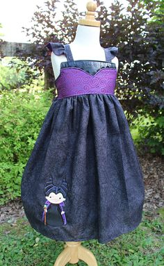 Girls Maleficent Twirl Dress, inspired by Disney's Sleeping Beauty With or Without Cutie Applique available in sizes 18m, 2T-8girls $53.00+