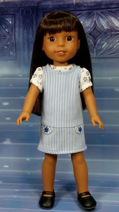 Wellie Wisher Clothing, Jumper Dress and Knit Top, American Made to fit 14 1/2 inch Girl Dolls