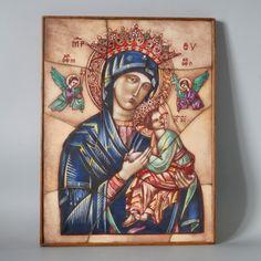 Opaline Glass Icon H29cm, Our Lady & Baby Jesus Christ, Art Deco Handcrafted Stained Glass, Van Paridon Christian Catholic Art Catholic Art, Religious Art, Byzantine Icons, Holding Baby, Glass Artwork, Spiritual Gifts, Baby Jesus, Opaline, Our Lady