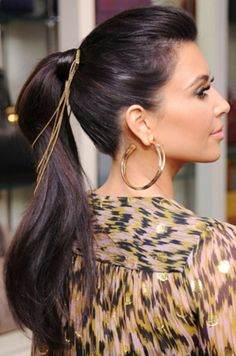 Kim #Kardashian- jeweled hair style, hoop earrings