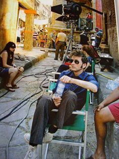 David Tennant behind the scenes of Doctor Who - The Fires Of Pompeii in September 2007