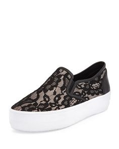 Sloane Lace Slip-On Sneaker, Nude/Black by Rebecca Minkoff at Neiman Marcus.