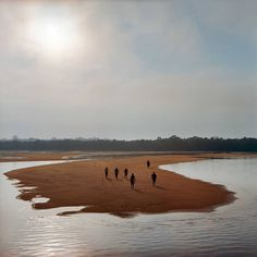 Members of the Munduruku indigenous tribe walk on a sandbar on the Tapajos River as they prepare for a protest against plans to construct a series of hydroelectric dams on the river in the Amazon rainforest in Para State, Brazil. The tribe members used the rocks to write 'Tapajos Livre' (Free Tapajos) in a large message in the sand in an action in coordination with Greenpeace. The Munduruku live traditionally along the river and depend on fishing and the river system for their livelihood…