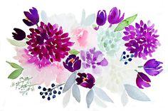 Purple Spring Bouquet -– Watercolor Print   $14   April Preston Design