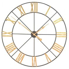 Large 102cm Metal Wall Clock with Gold Numerals Garden Furniture, Bedroom Furniture, Boutique Furniture from Optimal World