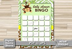 Printable Monkey Bingo Game  Baby Shower Bingo by DigitalitemsShop