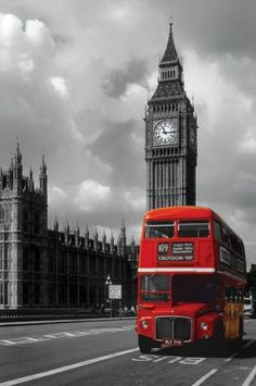 "Routemaster or ""doubledecker"" in front of the Palace of Westminster (a.k.a. Houses of Parliament)"