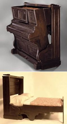 I absolutely love this Piano Murphy Bed!!! This would allow me to hide a guest bed in the living room or music room!
