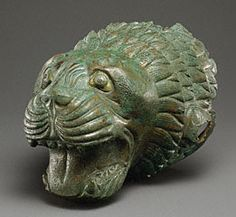 Etruscan bronze and glass paste finial in the shape of a lion's head B. The Getty Lion Eyes, Sculptures, Lion Sculpture, Cleveland Museum Of Art, Getty Museum, Roman Art, Visual Diary, Ancient Jewelry, Ancient Art