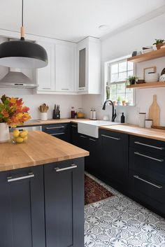What a transformation. This two-toned modern kitchen is amazing. I also lov. What a transformation. This two-toned modern kitchen is amazing. I also love the busy, patterned tiles. check it out! Kitchen Cabinets Decor, Kitchen Cabinet Colors, Cabinet Decor, Kitchen Colors, Home Decor Kitchen, Kitchen Ideas, Cabinet Ideas, Kitchen Inspiration, Kitchen Designs