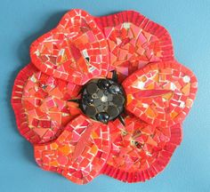 Oak Hill School - Remembrance Poppy - 2014 Mosaic Projects, Diy Projects, Remembrance Poppy, Oak Hill, Mobiles, Poppies, Stained Glass, Christmas Tree, Halloween