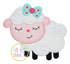 "Sleepy Lamb Applique Design Hoop Size 4x4, 5x7, and 6x10 Shown with our ""Hello Heartache"" Font NOT Included INSTANT DOWNLOAD now available by TheItch2Stitch on Etsy https://www.etsy.com/listing/178484462/sleepy-lamb-applique-design-hoop-size"