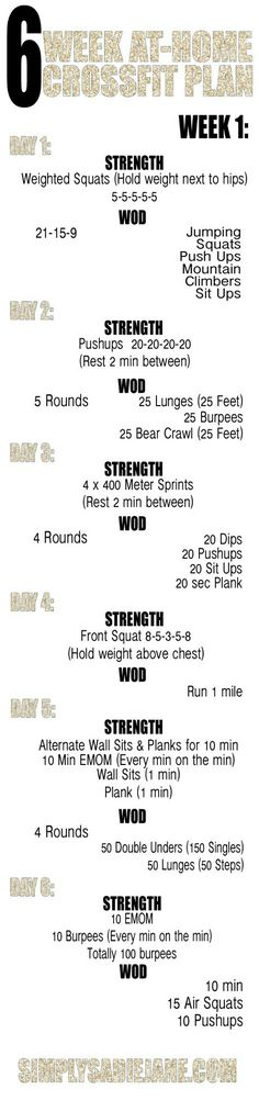 At home CrossFit workout plan