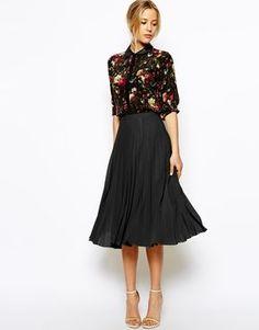 Image 1 ofASOS Pleated Midi Skirt(66)