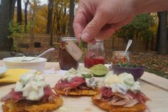 This is a recipe that I did for the Autism Speaks event. Smoked pork butt on tostones with a fruit salsa tossed in coconut milk.