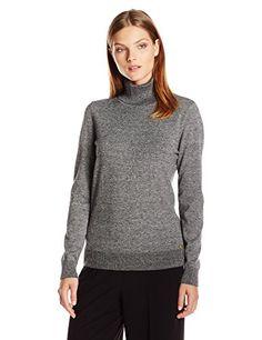 Calvin Klein Women's Marled Turtleneck, Black/Winter White Combo, X-Large