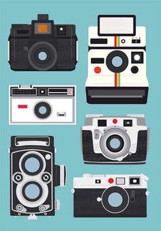 Polaroid camera print wall decor Nursery  print  Camera poster - Polaroid, Rolleiflex, Holga  A3 size Baby blue. $22.00, via Etsy.