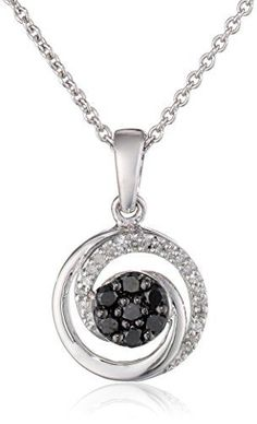 Sterling Silver Black and White Diamond Swirl Pendant Necklace (1/5 cttw, ), 18″by Amazon Collection