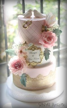 Gold Lace Wedding Cake by Sihirli Pastane - http://cakesdecor.com/cakes/280840-gold-lace-wedding-cake