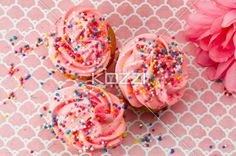 top view of strawberry cupcake with sugar icing. - Close-up top view of strawberry cupcake with sugar icing.