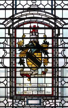 Heraldic window to the memory of The Hon. Thomas Harley, Lord Mayor of London (1767 - 1768) in the Church of St. Botolph without Aldgate, London, England