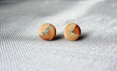 Wooden ear studs with turquoise–pears for the ears,wooden earrings,earring studs for men and women,wooden sticks earrings with turquoise by Mazunii on Etsy