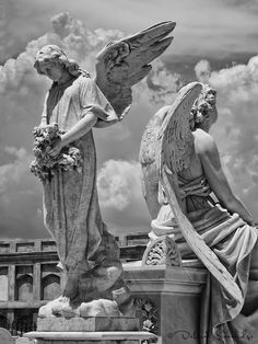Male Angel Statues Cemetery | Cemetery in Cienfuegos, Infrared with Nik Silver Efex Pro 2...