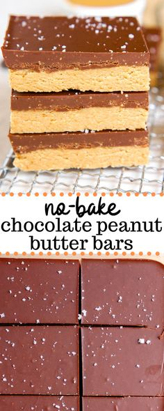 These no-bake chocolate peanut butter bars are a super easy and healthy dessert made from four gluten-free and vegan simple ingredients like peanut butter, oatmeal, maple syrup, and chocolate chips. They taste like a Reese Reese's Peanut Butter Bars, Peanut Butter Squares, Peanut Butter Banana Bread, Chocolate Peanut Butter Fudge, Chocolate Oatmeal Cookies, Gluten Free Peanut Butter, Gluten Free Chocolate Chip Cookies, Oatmeal Cookie Recipes, Healthy Peanut Butter