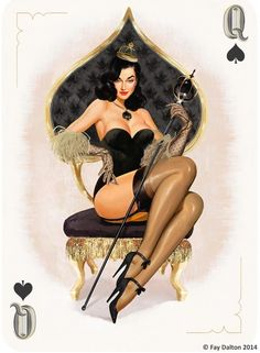 Pin-Up Playing Cards by Fay Dalton: The Queen of Spades | more here: http://playingcardcollector.net/2015/03/06/pin-up-playing-cards-by-fay-dalton/