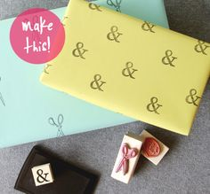 how to create custom wrapping paper using stamps. easy #diy