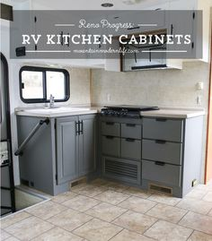 Modern camper remodels are the hottes -trend in tiny homes Planning to update the kitchen in your camper or motorhome? Come check out the progress of our painted RV kitchen cabinets! Rv Cabinets, Kitchen Cabinets, White Cabinets, Airstream, Rv Homes, Camper Renovation, Camper Remodeling, Rv Interior, Modern Interior