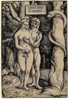 Adam and Eve naked standing together, he touches her breast, a serpent wound around the tree, rabbits at lower left.