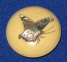 1 DAY AUCTION - Antique 19thC Japanese Meiji Cow Bone faux Ivory Shibayama MOP Butterfly Button