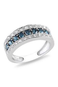 14K White Gold & Blue Rhodium Triple Row Diamond Ring Band - 0.75 ctw