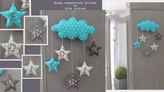 """Coussin nuage """"EDWIN"""" modèle déposé INPI - suspensions étoiles brodées initiales prénom  : Décoration pour enfants par elfe-couture"""