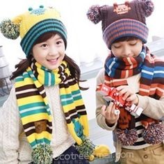 Sphere robot baby boy and girl models baby warm winter hat scarf suit children's ear Beanies baby scarves kids cap #Affiliate