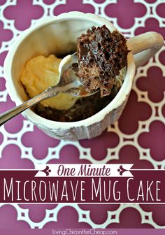 **One Minute Microwave Mug Cake** Need to satisfy a sweet tooth? Here is a super fast, easy and inexpensive recipe for you! One Minute Microwave Mug Cake. Some folks also call this a 3-2-1 Cake. It is simply a cake is cooked inside a coffee mug in the microwave. I also love it because you make this in individual servings. #recipe #cake