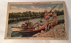 Seminole Indians Postcard Photo By Romer 1910 Dug Out Canoes Lithograph Color  | eBay