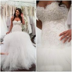Sweetheart Mermaid Beaded Wedding Dress White Lace Tulle Bridal Gown Custom Size