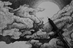 cloudy night sky illustration