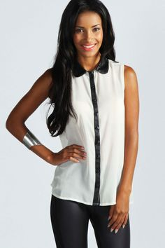 boohoo Katie PU Collar Blouse - ivory azz45248 A casual day top is a key piece for a laid back look A cute day top is a perfect building block for any outfit. This season, say hello to oversized jersey tops with cold shoulder detailing, feminine b http://www.comparestoreprices.co.uk/blouses/boohoo-katie-pu-collar-blouse--ivory-azz45248.asp