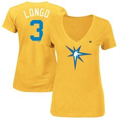 "Evan Longoria ""Longo"" Tampa Bay Rays Majestic Women's 2017 Players Weekend Name & Number T-Shirt - Yellow"