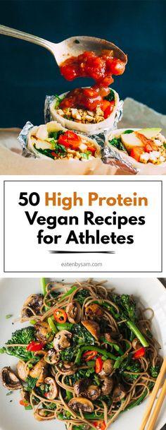 Vegan Recipes For Athletes, High Protein Vegetarian Recipes, Vegan Meal Prep, Vegan Foods, Vegan Dishes, Healthy Recipes, Protein Foods, Vegan Protein, Low Fat Vegan Recipes